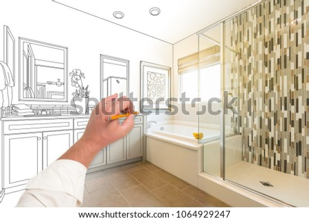 Hand Drawing Custom Master Bathroom with Cross Section of Finished Photograph.
