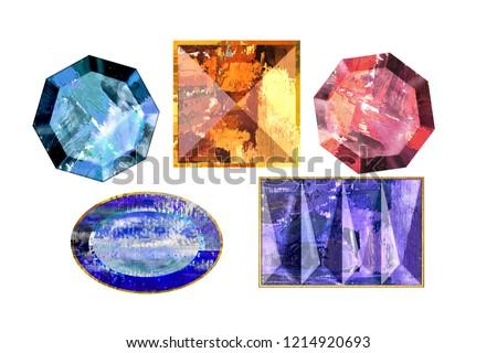 hand drawing elements. gemstones. amber. amethyst. rubin.  topaz. red, blue, purple, orange colors. for fashion design, invitation cards