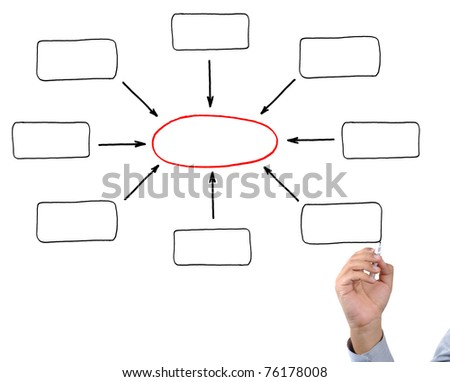 Hand drawing empty diagram on virtual whiteboard - stock photo