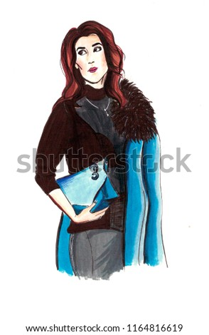 Stock Photo Hand drawing fashionable girl in blue jeans with a bag