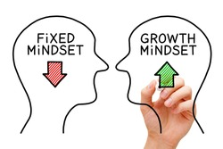 Hand drawing Fixed Mindset vs Growth Mindset success concept with black marker on transparent wipe board.