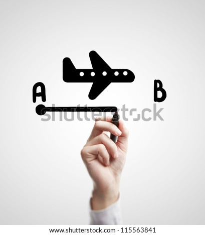 hand drawing flight route on a white background