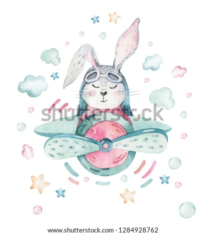 Hand drawing fly cute easter pilot bunny watercolor cartoon bunnies with airplane. Turquoise watercolour animal rabbit art flight illustration