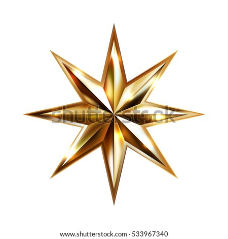 hand drawing gold star with eight rays elegant element isolated on white background, raster version illustration #533967340