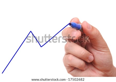Hand drawing graph isolated on white background