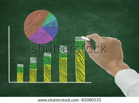 Hand drawing graph on chalkboard