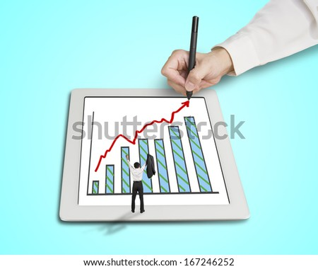 Hand drawing growth red arrow and chart on tablet  with hands rising cheered businessman in green background