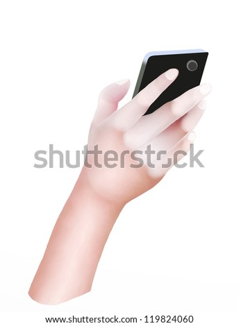 Hand Drawing, Hands Holding Cellular Phone or Mobile Smart Phone and Touching The Screen for Connecting People