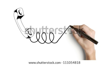 hand drawing handset on a white background