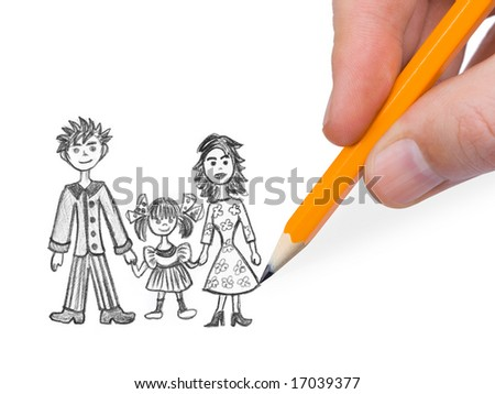 Hand drawing happy family isolated on white background