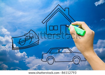 hand drawing home money car on blue sky