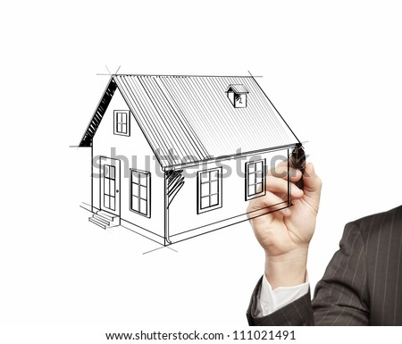 hand drawing home on a white background