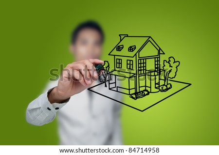 Hand drawing house in a whiteboard. - stock photo