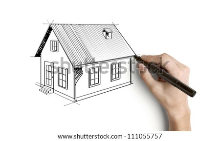 hand drawing house on a white background