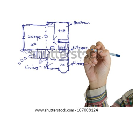 Hand drawing house plan on white background - stock photo