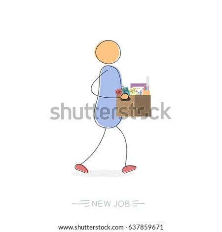 Hand drawing illustration of walking businessman with a box of personal belongings. Concept of receiving new job, successful employee. Modern thin line art isolated on white