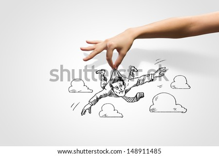 Hand drawing image of businessman. Business challenge