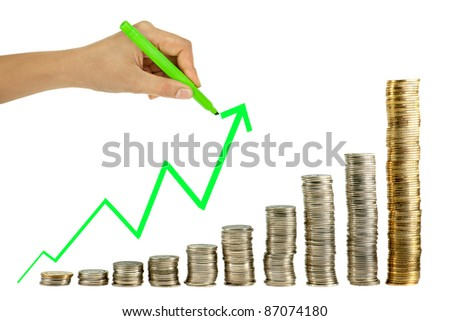 Hand drawing in coin graph