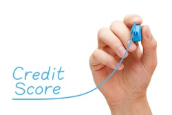 Hand drawing increasing Credit Score graph with blue marker on transparent wipe board. Improving creditworthiness concept.