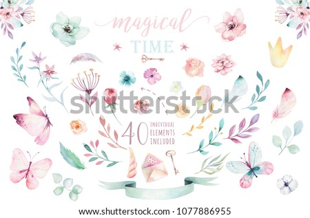 Hand drawing isolated boho watercolor blossom floral illustration with leaves, branches, flower. Bohemian greenery flowers and butterfly. Elements for wedding card.