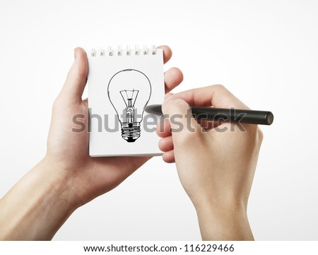 hand drawing lamp, idea concept