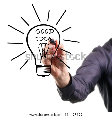 hand drawing light bulb - good idea concept