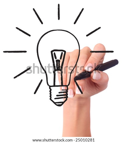 Hand drawing light bulb, isolated on white - Ecology/Business concept