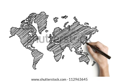 hand drawing map on paper