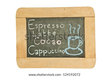 Hand drawing menu  design on old blackboard in coffee shop isolated on white background, clipping path included