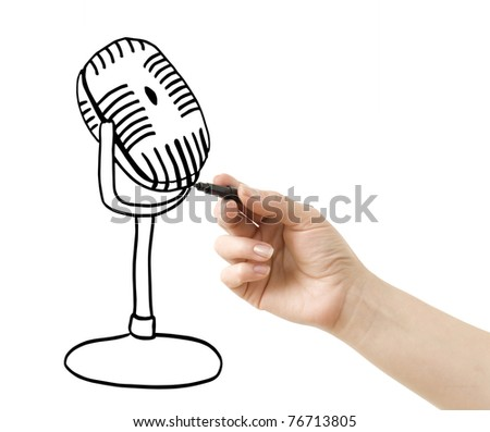 hand drawing microphone isolated on white
