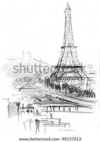 hand drawing of Eiffel tower in Paris