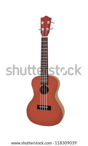 Hand Drawing of Modern Brown Color Hawaii Ukulele Guitar, A Small Guitar and Four-String Guitar.