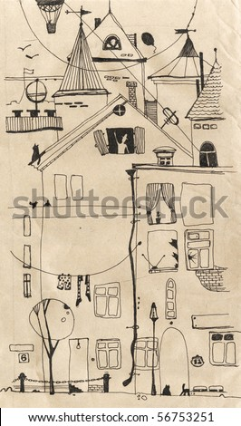 hand-drawing of the yard - stock photo
