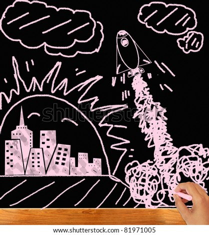 Hand drawing on the blackboard of  to send a space shuttle
