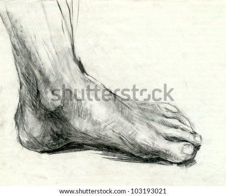 Hand drawing picture : FOOT - SOLE. Mixed media : pencil and charcoal.