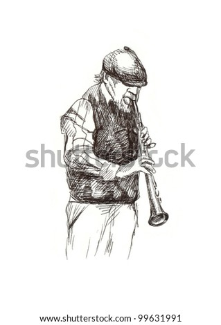 hand drawing picture - jazz player with the clarinet