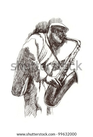 hand drawing picture - jazz player with the saxophone