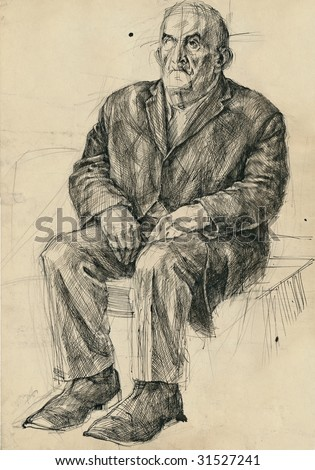 hand drawing picture, pen and ink, sitting old man