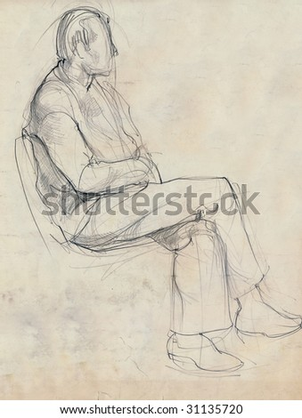hand drawing picture, pencil, pose of man