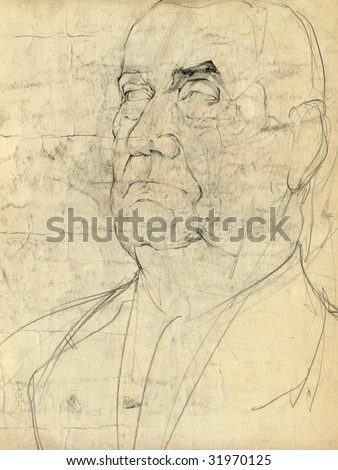 hand drawing picture, pencil sketch, portrait of unknown man