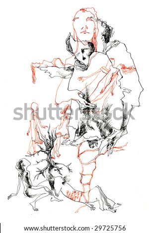 hand drawing picture, surrealistic imagination with the peoples figures - stock photo