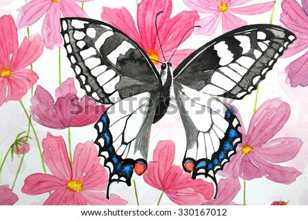 Hand Drawing Pink Flowers And Butterfly Backgrounds
