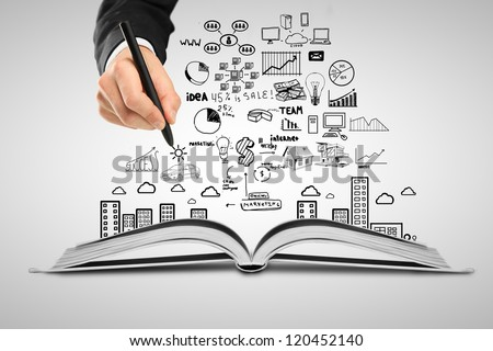 hand drawing plan strategy success in book