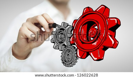 hand drawing red gears on white background