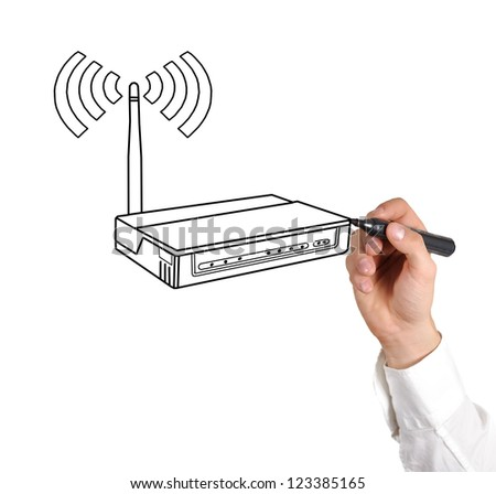 hand drawing router on a white background
