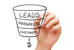 Hand drawing sales funnel business concept with black marker on transparent glass board.