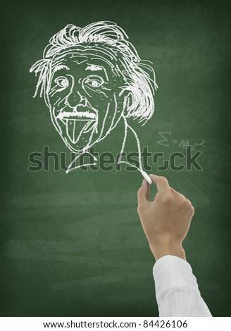 Hand drawing scientist portrait on chalkboard - stock photo