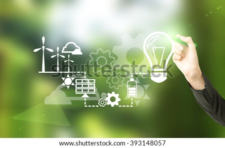 Hand drawing symbols of alternative energy sources. Blurred green background. Concept of clean environment.