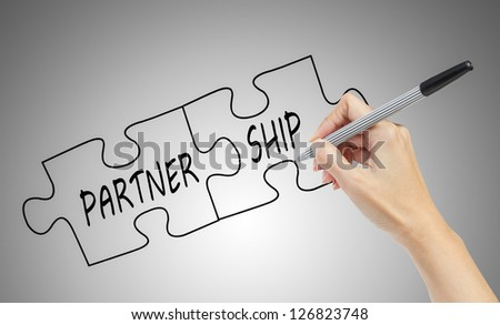 hand drawing the word 'Partnership' business concept
