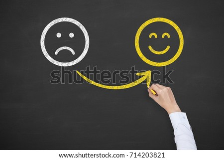 Hand Drawing Unhappy and Happy on Blackboard